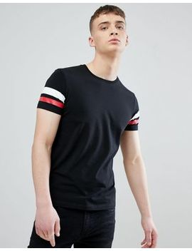 Esprit Muscle Fit T Shirt In Black With Arm Stripe by Esprit