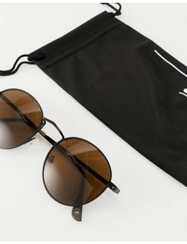 Asos Design Round Sunglasses In Black With Brown Lens by Asos Design
