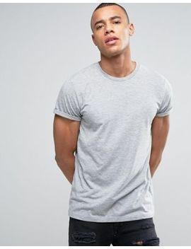 Asos   T Shirt Girocollo Con Maniche Con Risvolto Grigio Mélange by Asos